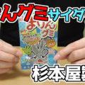まけんグミ サイダー味(杉本屋製菓)、じゃんけんの手形にうずまきのひも状グミがついたトレーグミ!まけんグッズもプレゼント